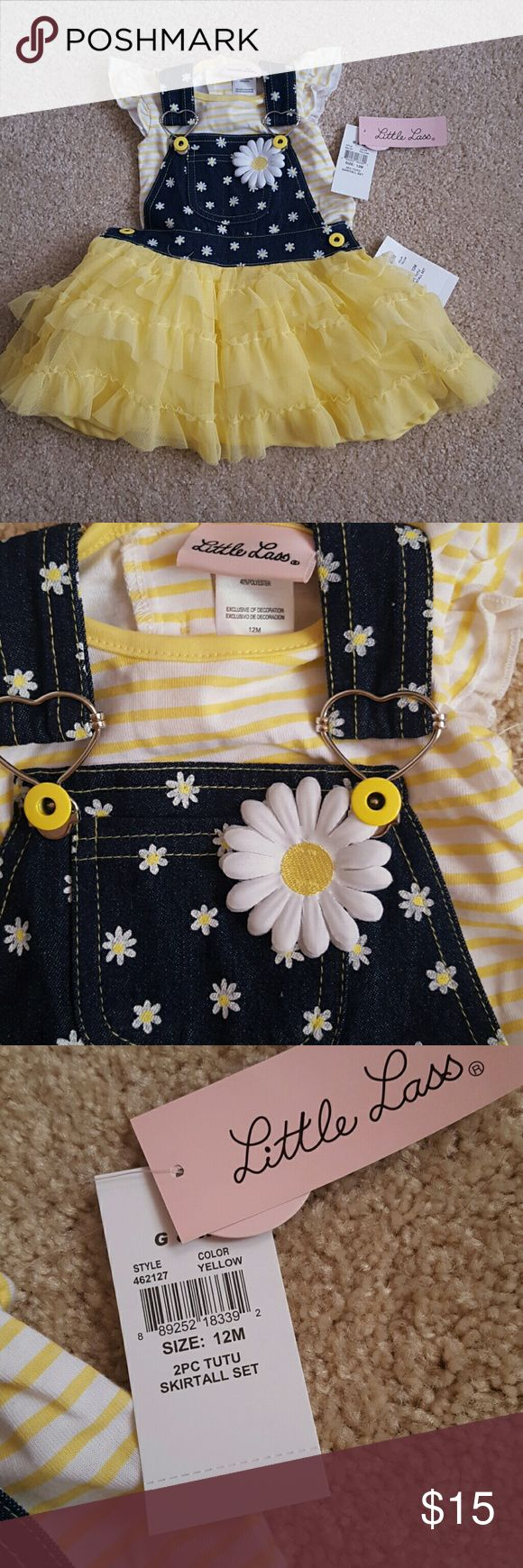 12m Yellow overalls tutu skirt 2pc Adjustable straps removable shirt has side bottons Little Lass Dresses Casual