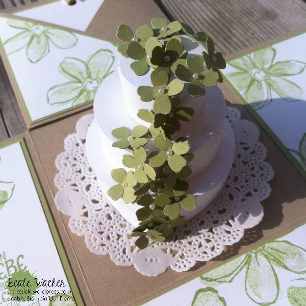 Explosionsbox, Wedding, Hochzeit, Garden in Bloom, Blümchen, Geldgeschenk, Stampin´Up! Hochzeitstorte aus Papier