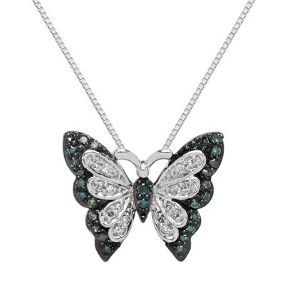 Zales 1/5 CT. T.w. Enhanced Green Diamond Tulip Pendant in Sterling Silver pHs0NvC