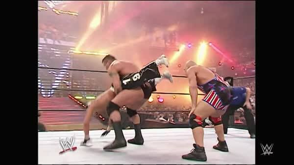 Randy Orton and Rey Mysterio felt the sheer POWER of soon-to-be WWE Hall of Famer Kurt Angle at WWE WrestleMania 22!