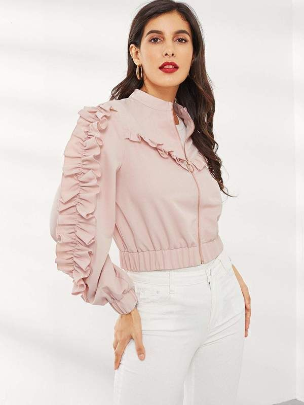 2f4bb2adea O-Ring Zip Up Ruffle Trim Jacket in 2019 | Cute Clothes | Jackets ...
