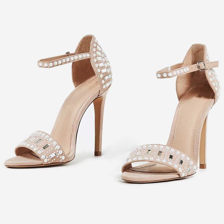 Suede leather with rhinestone hot fix women heel sandals shoes manufacturer