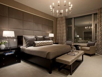 Elegant Brown Wall Color Scheme and Modern Lighting in Romantic Apartment Bedroom Design Ideas