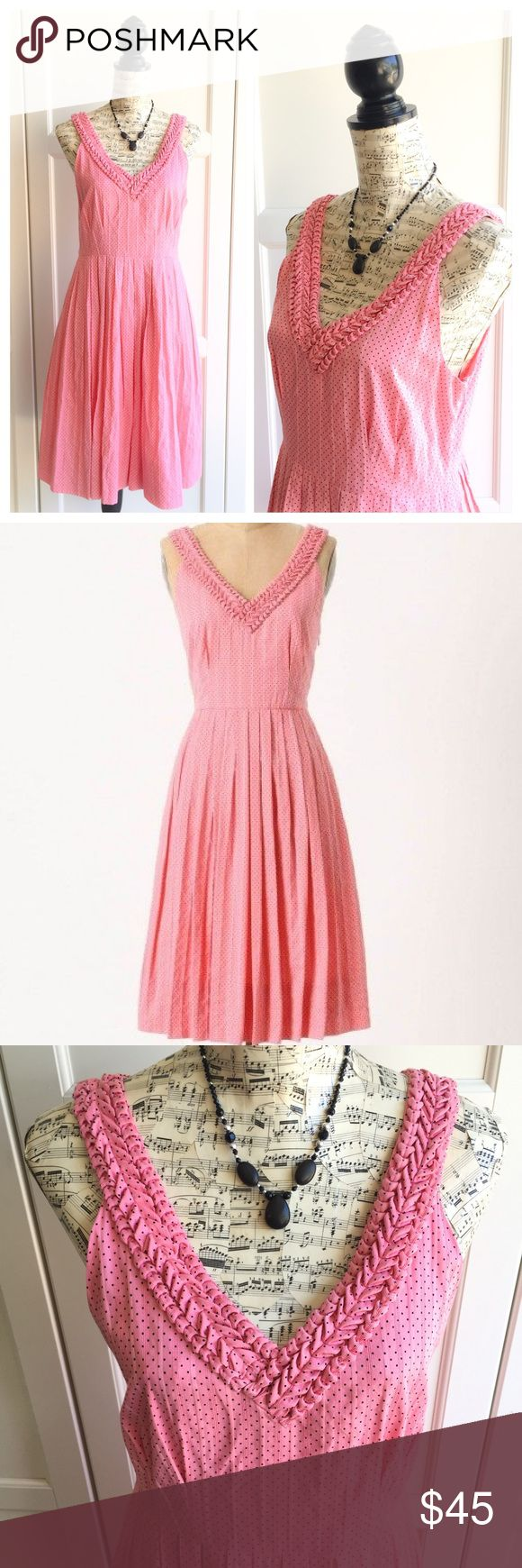 Anthropologie Pink Melon Ball Dress Melon ball dress by Moulinette Soeurs for Anthropologie. Size 6. Pink dress with tiny black polka dots throughout. Hidden side pockets! Anthropologie Dresses