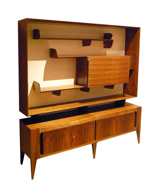 A Rare Walnut Floating Bookcase and Bar on Console by Gio Ponti | Todd Merrill Antiques & Associates, Inc.