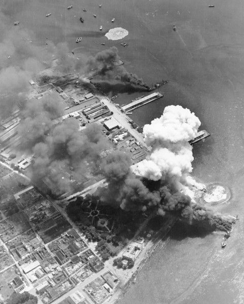 September 13, 1944: Japanese-occupied harbor of Cebu is under attack by U.S. Navy carrier-based fighter planes, at Cebu island, Philippines.