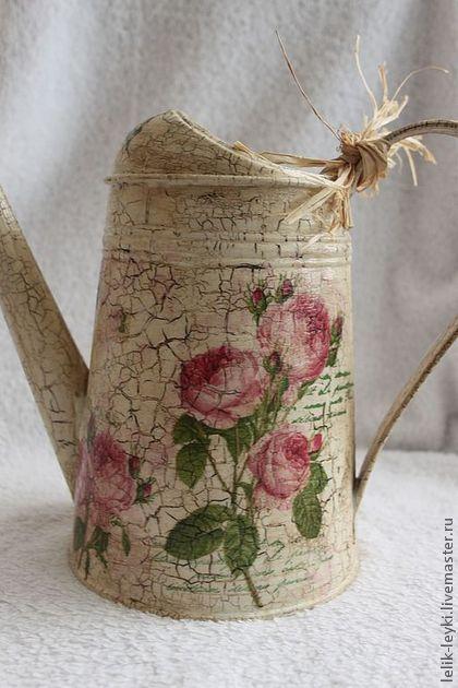 """Леечка """"Английские розы"""" - бежевый,лейка,лейка декупаж,лейка для цветов"""