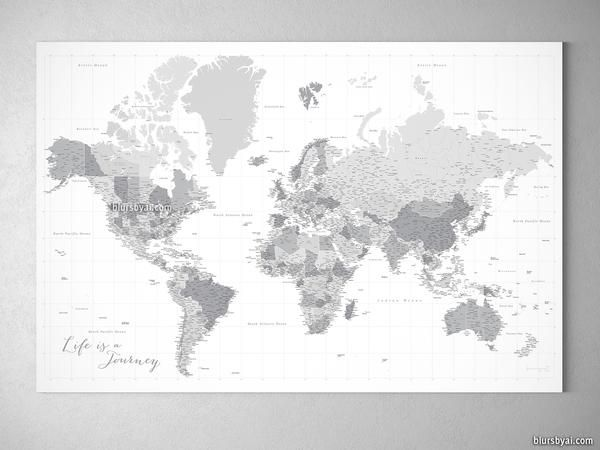 12 best large and highly detailed world map prints on paper personalized large highly detailed gray world map canvas print or push pin map gumiabroncs Image collections