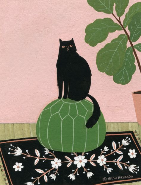 cats & plants - yelena bryksenkova | cat illustration