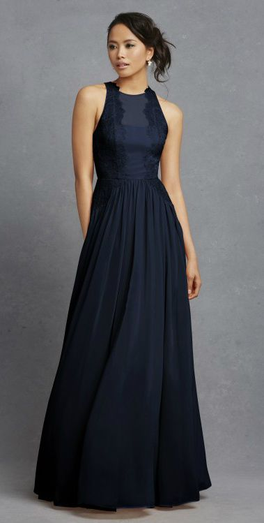 Navy bridesmaid dresses with lace detail