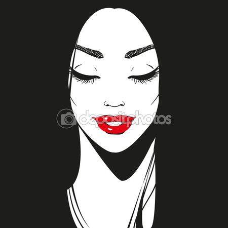 Крупным планом лицо, черно-белый графический обращается улыбаясь Портрет девушки с длинными ресницами и красивую линию бровей, ярко красные помады или блеск для губ и длинные черные волосы, глаза закрыты, вектор — стоковая иллюстрация #108624264