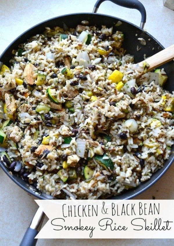 Chicken and black bean rice skillet
