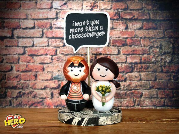 Iron Man and Bride Superhero Wedding Cake Topper Tony Stark OH MY HERO