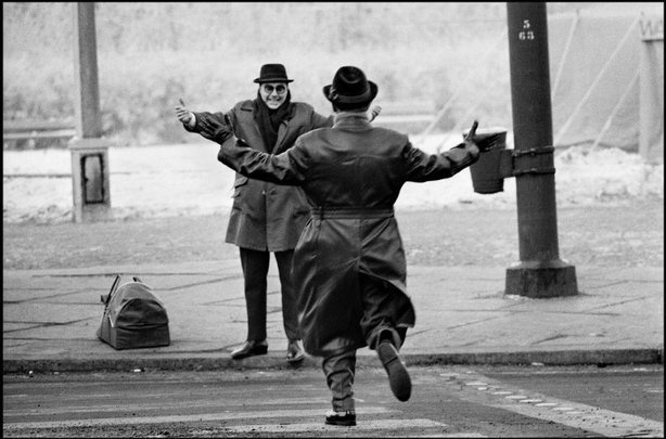 Two brothers meet for a Christmas reunion after having been separated by the Berlin Wall (at this point only two years old). It was the first meeting of East/West relatives allowed by the East German government following the wall's construction.    West Berlin - 1963