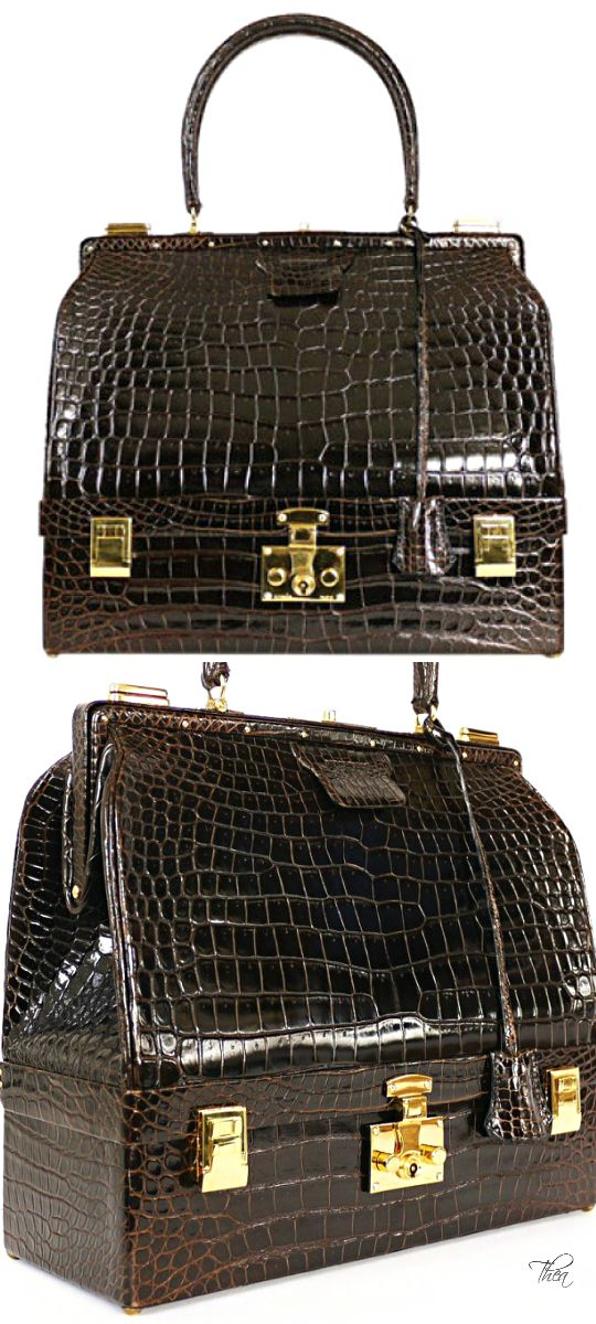Vintage Hermes ● Shiny Crocodile Porosus Sac Trunk Case 1978