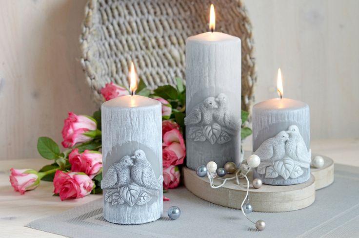 Svatební svíčky s ptáčky