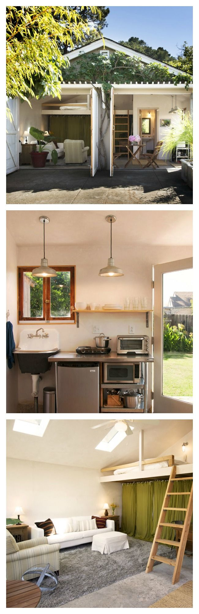 Get inspired and transform your garage into a backyard retreat. You can easily make a junky storage space into a cozy, amplified she-shed. With a little elbow grease and creativity, your garage can be restructured to have a kitchen, bedroom, bathroom, and sitting porch.