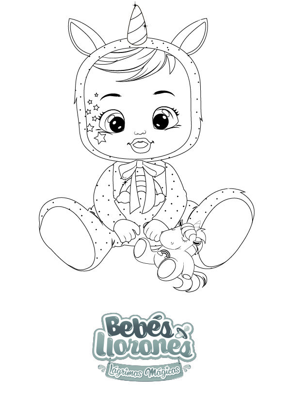 Desenhos de unicornio para imprimir e colorir. ¡A PINTAR! | Bebés Llorones Lágrimas Mágicas | Bebé llorón