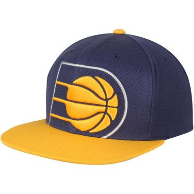 Men's Mitchell & Ness Navy/Gold Indiana Pacers Cropped XL Logo Adjustable Snapback Hat