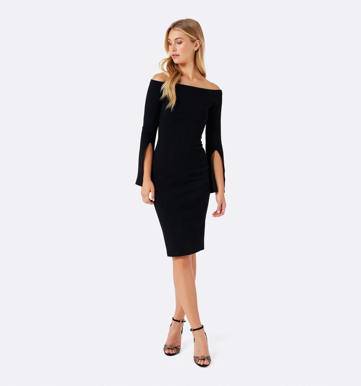 Kacey Flare Sleeve Bardot Dress Black - Womens Fashion   Forever New
