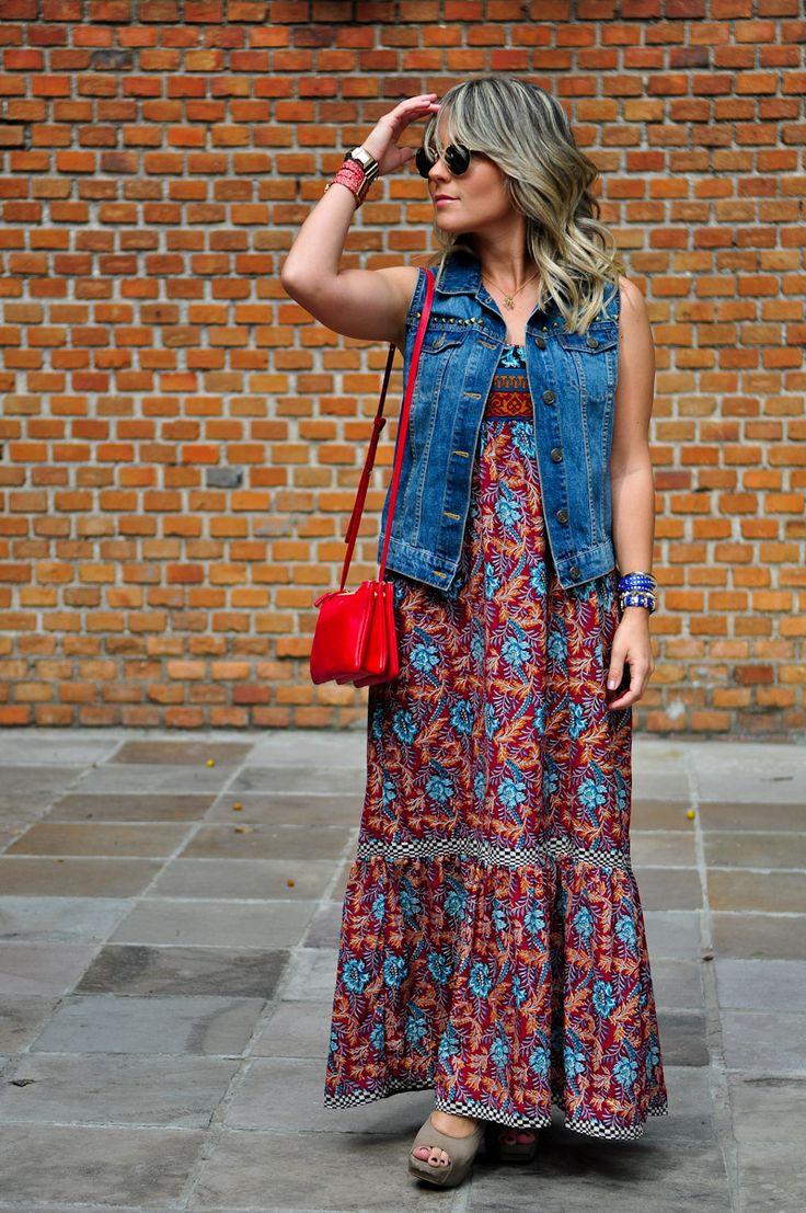 Vestido estampado com colete/ vestido longo com colete