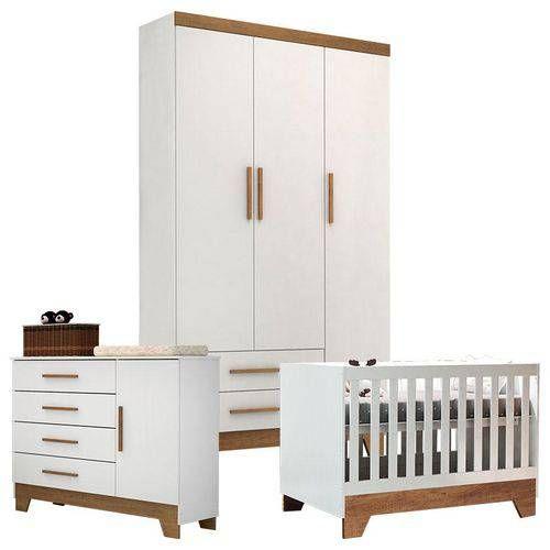 Quarto de Bebê Ester Retro Branco Acetinado Amadeirado – Carolina Móveis – Família Dória Marangoni