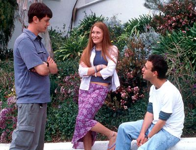 Colin Hanks and Schuyler Fisk with director Jake Kasdan on the set of Paramount's Orange County - 2002