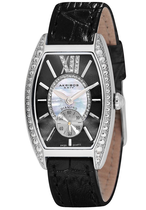 Price:$111.68 #watches Akribos XXIV AK471BK, This Akribos XXIV women's watch is sure to be a great addition to your wardrobe with its mother of pearl center dial encircled with genuine diamonds and outer sunray dial. This watch features a large Roman numeral 12 with inlaid diamonds.
