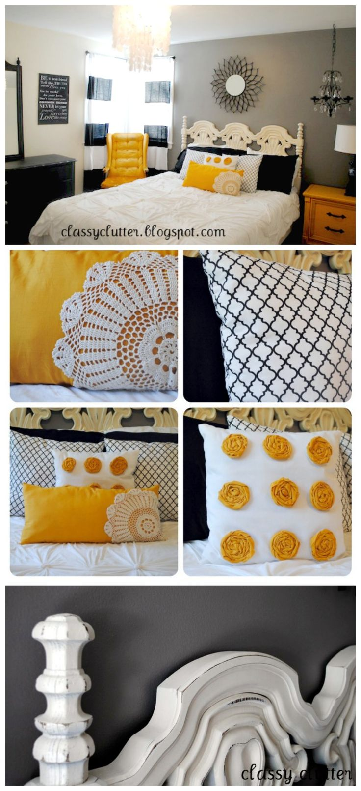 Super Cute Black and Yellow Bedroom Makeover | www.classyclutter.net