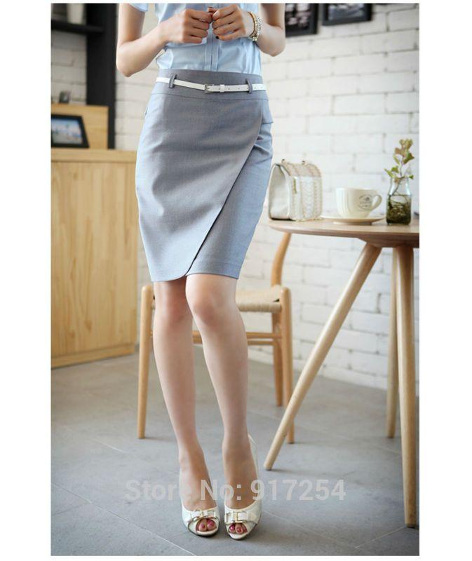 Nueva señora coreana oficina lápiz de moda más el tamaño S-2XL 2015 nueva longitud de la rodilla con la correa mujeres carrera Formal falda nave de la gota(China (Mainland))