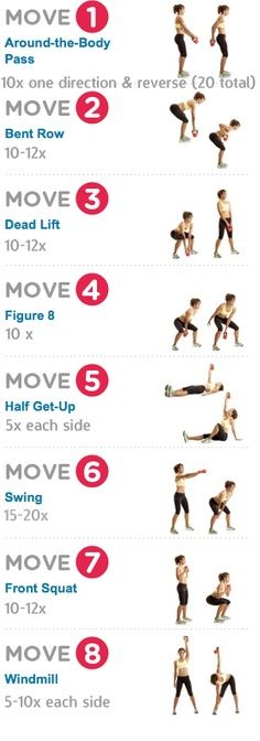 8 Kettlebell Exercises (Thanks @Elizabeth Lucht for posting this. I just tried it. My bones hurt. Thanks a lot. )