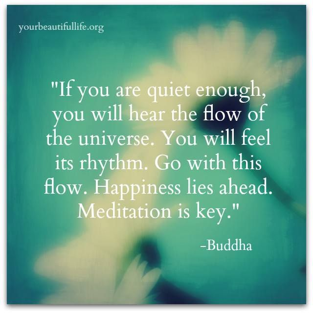 "Wise words from Buddha: ""If you are quiet enough, you will hear the flow of the universe. You will feel its rhythm. Go with this flow. Happiness lies ahead. Meditation is key."""