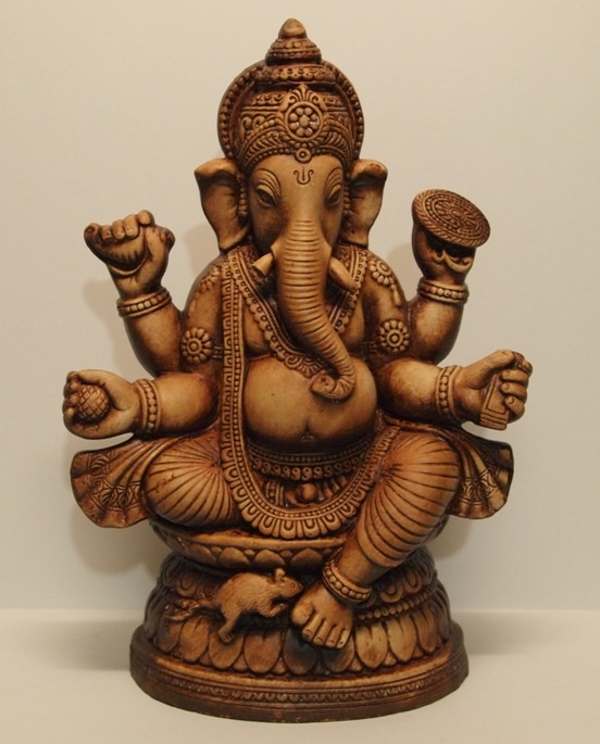 "Ganesha - Destroyer of Obstacles and Lord of Success. The son of Shiva and Parvati, he is the Lord of success, education, knowledge, wisdom, wealth and the destroyer of evils. In fact, Ganesha is one of the five prime Hindu deities (Brahma, Vishnu, Shiva, and Durga being the other four) whose idolatry is glorified as the panchayatana puja.     10"" Resin Ganesh Statue, $79.99 available online at http://buddha-for-you.com/hindu-statues/ -"
