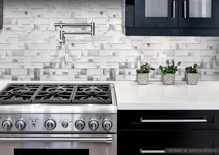 Modern Espresso Kitchen Cabinet With White Gl Metal Backsplash