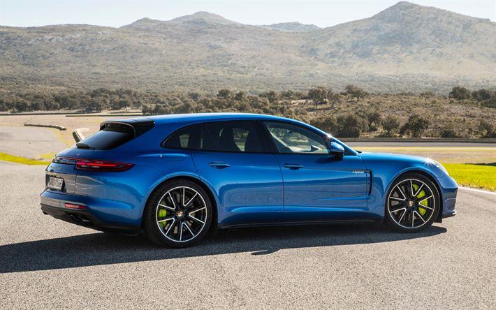 Download wallpapers Porsche Panamera Turbo S, 2018, E-Hybrid, 4k, blue sports coupe, tuning, blue Panamera, green calipers, Porsche