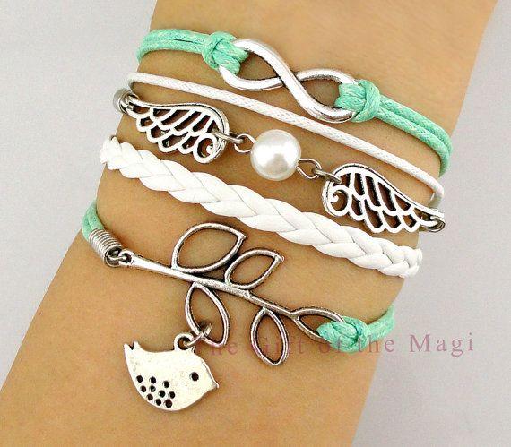 Infinity, Wings & Lucky Leaf,Love Birds Charm Bracelet- Harry Potter Inspired Bracelet-Wax Cords,Personalized Bracelet-Friendship Gift