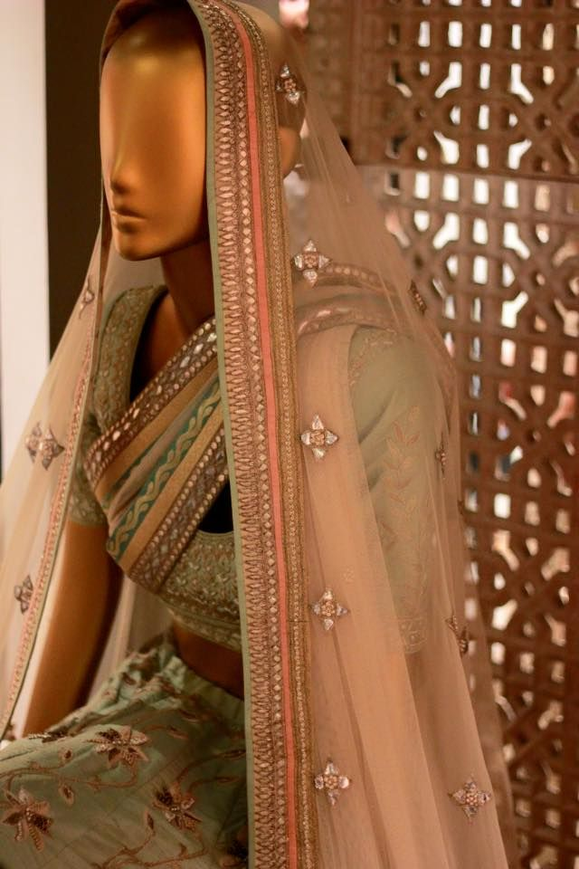 A closer look at the pristine pastels at our bridal heaven at Khar, Mumbai.  #AnitaDongre #Bridal #gotapatti #emroidered #lehenga  #Heaven #Interiors #Luxury #Store #WeddingInspiration #Jaipur #Inspired