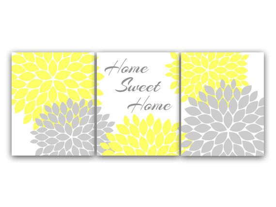 Home Decor Wall Art Home Sweet Home Yellow Wall by WallArtBoutique