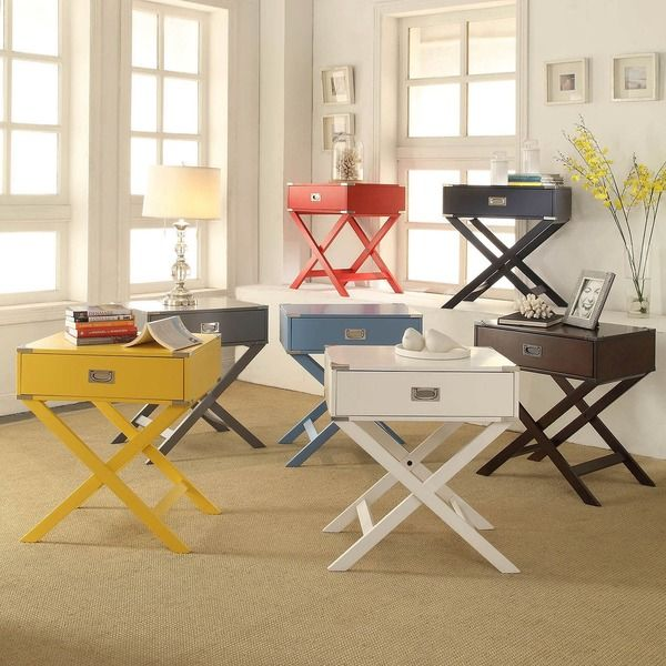 INSPIRE Q Kenton X Base Wood Accent Campaign Table   Overstock™ Shopping    Great Deals