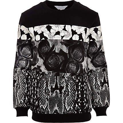 Black Systvm floral snake print sweatshirt - branded hoodies / sweatshirts - hoodies / sweatshirts - men (£60.00) - Svpply