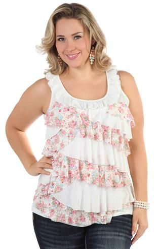 plus size tank top with ruffle tiers