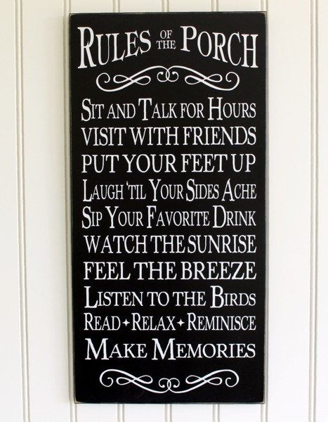 Porch Rules Sign Wall Art - Home Decor - Outdoor Living - Beach Cottage - Summertime -Memories- Coastal Living