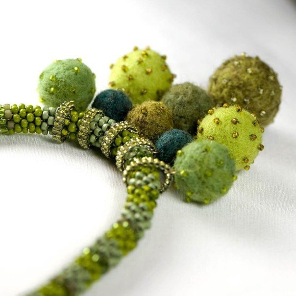 Embellished felted beads on beaded bails strung on a bead crochet rope.  Вязание с бисером