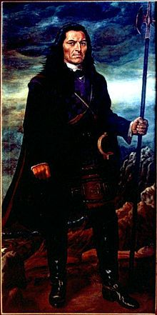 Túpac Amaru II (José Gabriel Túpac Amaru b. March 19, 1742 in Surimana-Canas, Cuzco, Viceroyalty of Peru – executed in Cuzco May 18, 1781) was a leader of an indigenous uprising in 1780 against the Spanish in Peru. Although unsuccessful, he later became a mythical figure in the Peruvian struggle for independence and indigenous rights movement and an inspiration to a myriad of causes in Peru.
