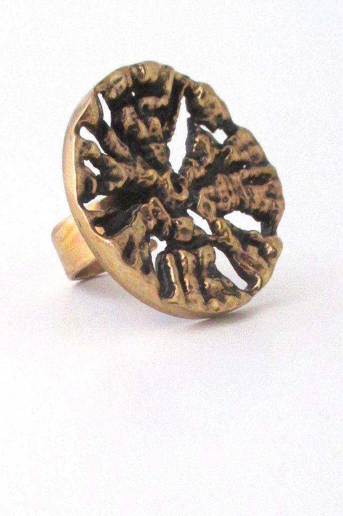 Pentti Sarpaneva, Finland - extra large pierced bronze ring #bronze #Finland #ring