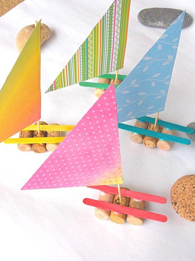 recycling basteln kinder weinkorken sommer segelboote basteln pinterest basteln schiff. Black Bedroom Furniture Sets. Home Design Ideas