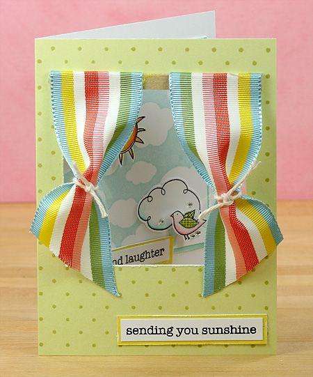 I simply love the idea of ribbon for curtains on a window card. Clever!