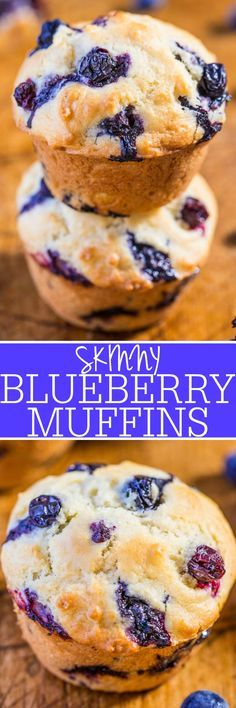 Skinny Blueberry Muffins - No butter and very low sugar but you'll never notice!! Easy, no mixer, soft, fluffy, and bursting with blueberries in every bite!! (Your party guests will love the healthier option!)