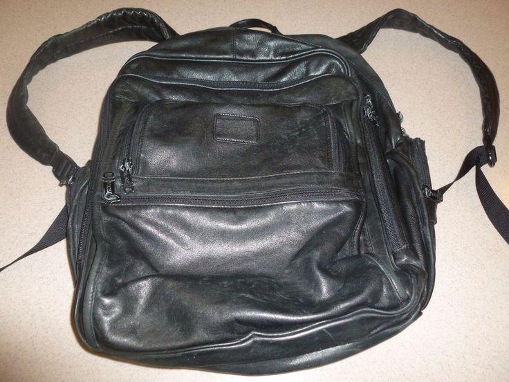 "Vintage TUMI Black Leather Backpack Bag Large Rucksack 16x12x8"" Expandable   Clothing, Shoes & Accessories, Unisex Clothing, Shoes & Accs, Unisex Accessories   eBay!"