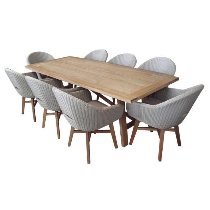 Cascade 9 Piece Dining Setting Dark White coloured UV stabilised PE wicker Aluminium frame Natural finish Garuga hardwood Taupe coloured cushions included Setting includes: 1 Table and 8 x Cascade Dining chairs Table measures: 230cm wide x 100 deep x 73 high Assembly is required No other colour available Optional cover available for this setting [...]